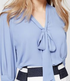 Thumbnail Image of Color Swatch 1448 Image of Tie Neck Blouse
