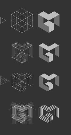 logo inspiration // process // MG logo by Jan Zabransky, via Behance Web Design, Layout Design, Design De Configuration, Game Design, Design Color, Food Design, Logo And Identity, Logo Branding, Brand Identity Design