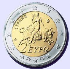 Euro coin featuring Europa riding the  sea-bull or Quinotaur.