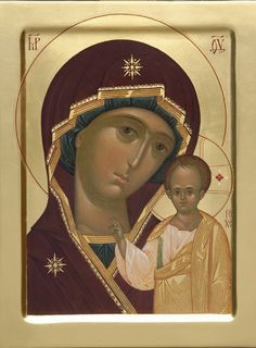 This icon of the Mother of God of Kazan is handpainted on a gessoed wooden board using egg tempera or acrylic paints. A real masterpiece from the icon painting studio of St Elisabeth Convent Religious Images, Religious Icons, Religious Art, Paint Icon, Barn Quilt Patterns, Byzantine Icons, Holy Mary, Painting Studio, Virgin Mary