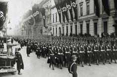 Adolf Hitler salutes a parade of his personal bodyguard regiment, the 1st SS Division Leibstandarte SS Adolf Hitler, 30th January 1937