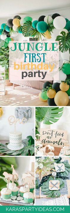 baby boy birthday party Hang from the treetops and swing from the vines this Jungle Birthday Party featured at Kara's Party Ideas is out of this world! Jungle Theme Birthday, Baby Boy First Birthday, Kids Birthday Themes, Party Themes For Boys, Boy Birthday Parties, Girl Themes, First Birthday Decorations Boy, Lion Birthday Party, Baby Boy 1st Birthday Party