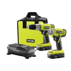 Ryobi Lithium-Ion Drill and Impact Driver Combo Kit. Comes with 2 batteries, charger and carrying case! The lithium-ion batteries will outlast your project! $99