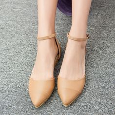 Ladies Pointed Toe Ankle Strap Flat Mary Janes Womens Ballet Loafer Shoes R235