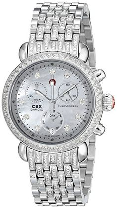 MICHELE Women's MWW03M000203 CSX-36 Analog Display Swiss Quartz Silver-Tone Watch -   Round watch with crystal embellishments through bezel and bracelet featuring pearlescent face with chronograph and day of the week subdials 36 mm stainless steel case with synthetic sapphire dial window Swiss quartz movement with analog display Stainless steel band with deployant clasp with push-button closure Water resistant to 50 m (165 ft): In general, suitable for short periods of recrea