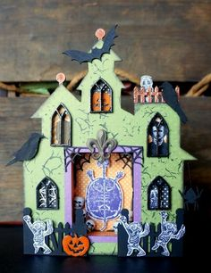 Viva Las VegaStamps!: It's FRIDAY the 13th! {September Guest Designer} #altered #hauntedhouse for #Halloween by Chrissy Colon for vlvstamps.com using #rubberstamps + more