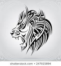 Find Graphic Silhouette Roaring Lion stock images in HD and millions of other royalty-free stock photos, illustrations and vectors in the Shutterstock collection. Thousands of new, high-quality pictures added every day. Lion Tribal, Tribal Lion Tattoo, Lion Head Tattoos, Tribal Animals, Lion Tattoo Design, Leo Tattoos, Zodiac Tattoos, Animal Tattoos, Trible Tattoos