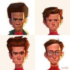 Spider-Men From The Movies Headshots by Gabriel Soares : Marvel Marvel Comics, Ms Marvel, Marvel Art, Marvel Memes, Captain Marvel, The Avengers, Art Spiderman, Amazing Spiderman, Hulk Superhero
