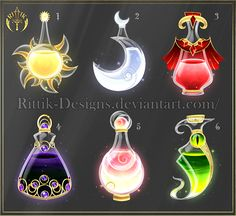 Halloween contest - Prizes by Rittik-Designs on DeviantArt Anime Weapons, Fantasy Weapons, Fantasy Jewelry, Fantasy Art, Art Magique, Magic Bottles, Elemental Magic, Magical Jewelry, Weapon Concept Art
