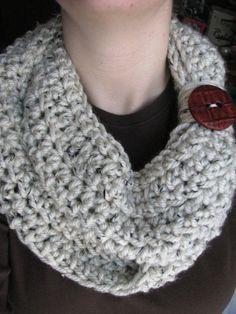 Creme Speckle Crochet Button Scarf