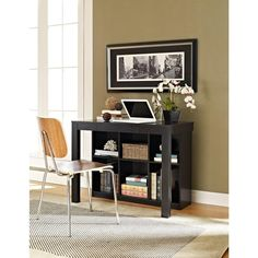 Altra Furniture Parsons Style Desk with Drawer and 6-Shelf Bookcase in Black Oak-9394096 - The Home Depot