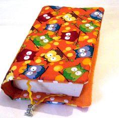 ♥Buchhülle Buchumschlag Eulen knallbunt incl. Lesezeichen mit Schmuckeule ♥für dicke & dünne Bücher!       Für Taschenbücher dick und dünn!   Dein Buc
