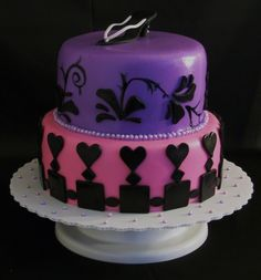 Fondant Pink and Purple 2 Tier Birthday Cake with Shoe Liberty, KY ...