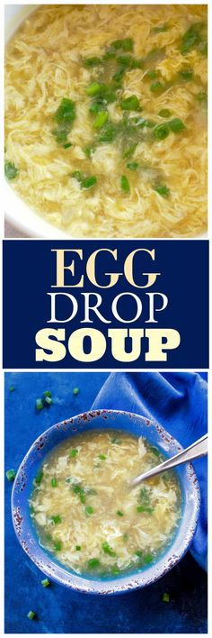 Egg Drop Soup Recipe – The Girl Who Ate Everything This Egg Drop Soup is a healthy Chinese broth based soup made with eggs, chicken broth, cornstarch, and green onions. Healthy Chinese Recipes, Healthy Soup Recipes, Asian Recipes, Gourmet Recipes, New Recipes, Cooking Recipes, Favorite Recipes, Ethnic Recipes, Summer Recipes