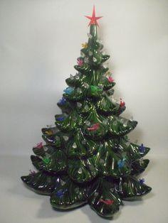 "Atlantic Mold Christmas Tree Ceramic Green Holiday Xmas Glass Birds 16.5""  #AtlanticMold"