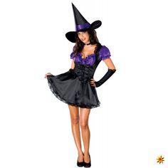 Kostüm lila Hexe für Damen, Kleid mit Hexenhut