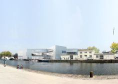 An X-shaped public library designed by OMA