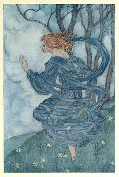 Wind, Wind! Thou art sad, art thou kind?  Wind, Wind, unhappy! Thou art blind,  Yet still thou wanderest the lily-seed to find  Illustration by Florence Harrison, from Early poems of William Morris, New-York, 1914.
