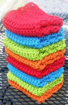 How to crochet cotton washcloths...easy!.