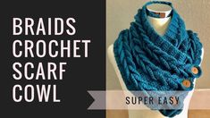 Easy Braided Cowl Free Crochet Tutorial in English The best braided cowl pattern, beautiful Christmas gift idea, easy tutorial for beginners Crochet Scarf Tutorial, Crochet Braid Pattern, Crochet Video, Braid Patterns, Easy Crochet, Crochet Patterns, Cowl Patterns, Knitting Patterns, Headband Crochet