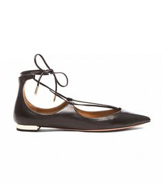 Aquazzura Christy Leather Flats black |  The Only 6 Pieces You Ever Really Need to Invest In via @WhoWhatWear