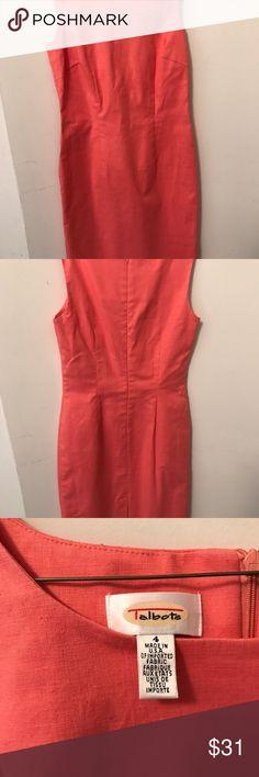 Talbots linen sleeveless dress. Coral linen classic sleeveless above knee length dress Talbots Dresses Mini