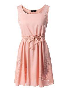 c2326762402 Sexy Dance - Chiffon Dress Plus Size Women Sleeveless Summer Casual Hollow  Out Drawstring Short Mini Dresses Beach Party Sundress - Walmart.com
