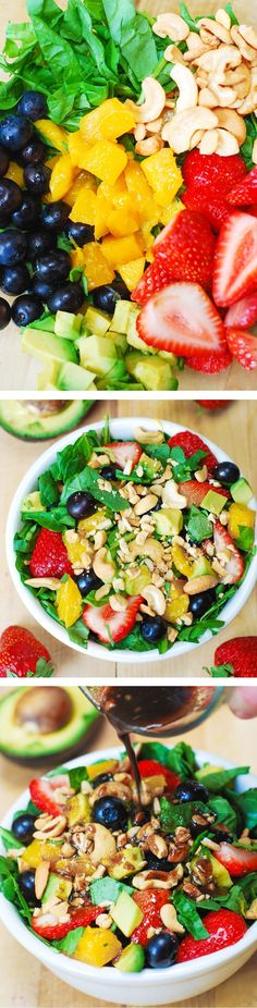Strawberry Spinach Salad, with Blueberries, Mango, Avocado, and Cashew nuts + homemade Balsamic Vinaigrette salad dressing. Vegetarian, gluten-free, vegan, low in fat and low in calories.