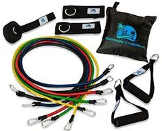 Amazon.com : Cayman Fitness Premium Resistance Band Set. The Exercise Band Set Comes with 5 Heavy Duty Bands, Door Anchor, 2 Neoprene Lined Ankle Straps, 2 Comfortable Handles, Carrying Case, Includes Downloadable Exercise Guides and Online Video Library : Sports & Outdoors