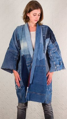 SilkDenim's Oh Yoko Coat Made From Recycled Denim image 3 Fast Fashion, Denim Fashion, High Fashion, Moda Jeans, Jean Vintage, Denim Ideas, Patchwork Jeans, Recycled Denim, Recycled Clothing