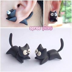 Created Nekolus Cat Throughing Ears Earring SP168596 – SpreePicky