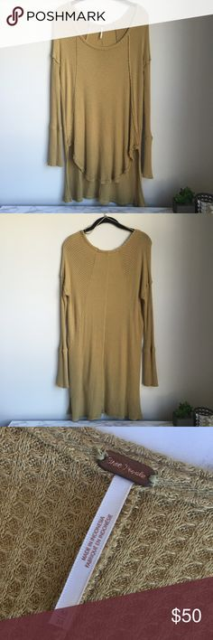 FREE PEOPLE Ventura Thermal Tee Free People mustard yellow long sleeved Ventura thermal. Great condition! No stains or holes. Free People Tops Tees - Long Sleeve