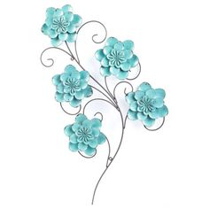 Turquoise Metal Flower & Swirl Wall Decor