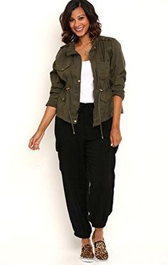 awesome Deb Junior Plus Size Lightweight Woven Cargo Jogger Pants with Tie Waist Black 1...