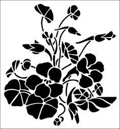 Nasturtiums stencil from The Stencil Library GENERAL range. Buy stencils online. Stencil code 256.