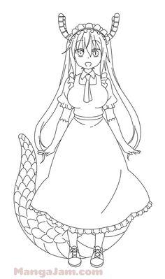 Kobayashi San Chi No Maid Dragon, Kneaded Eraser, Miss Kobayashi's Dragon Maid, Manga Characters, Learn To Draw, Design Your Own, Stuff To Do, Line Art, Poses