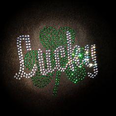 Rhinestone Lucky Shamrock St Patricks Day Shirt by BlingNInk, $23.00