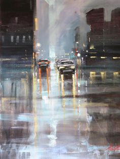 Rain and umbrellas in painting by Australian artist Helen Cottle