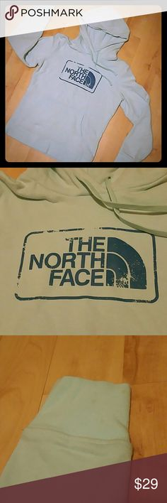 The North Face Teal Hoodie Authentic The North Face hoodie in women size small in a beautiful teal color. This item is in very good condition other than a very small unnoticeable staying on the right sleeve as pictured. The North Face Tops Sweatshirts & Hoodies