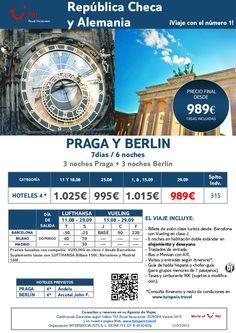 República Checa y Alemania - Combinado Praga-Berlín . Agosto y Septiembre ¡¡PVP final desde 989€!! - http://zocotours.com/republica-checa-y-alemania-combinado-praga-berlin-agosto-y-septiembre-pvp-final-desde-989e/
