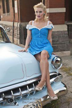 Ashley - Pinup Classic Car Shoot Pinup, Classic Cars, Poses, Eye, Vintage, Dresses, Fashion, Figure Poses, Vestidos