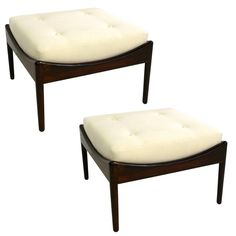 Pair of Finn Juhl Style Rosewood Stools or Ottomans | From a unique collection of antique and modern stools at https://www.1stdibs.com/furniture/seating/stools/