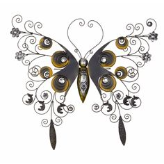 wrought iron wall decor | Wrought Iron Textured Butterfly Wall Décor by BayAccents