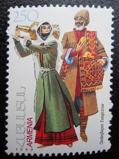 Stamps, covers and postcards of traditional/folk costumes: Stamps / Costumes - Armenia / Armėnija