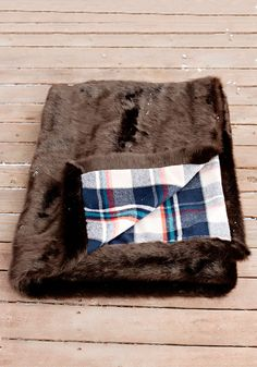 Mink Faux Fur Throw with Blue Plaid...Oh So Cozy!