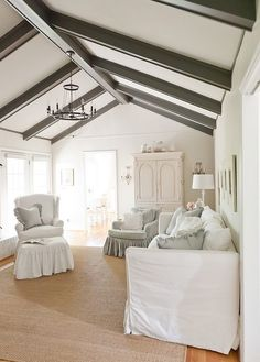 Excellent Faux Wood Ceiling Beams And Planks : White Ceiling With Darker Painted Beams And Charcoal Work Well Together At Traditional Living Room And Painted Beams Add Contrast To The Simple Room Painted Ceiling Beams, Grey Ceiling, Porch Ceiling, Room Paint Colors, Paint Colors For Living Room, Shabby Chic Living Room, My Living Room, Living Area, Living Spaces