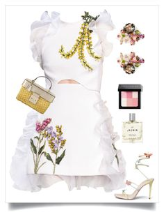 """Garden Delight"" by kjlnelson ❤ liked on Polyvore featuring Giambattista Valli, René Caovilla, Michael Kors, Miller Harris, Anabela Chan and Bobbi Brown Cosmetics"
