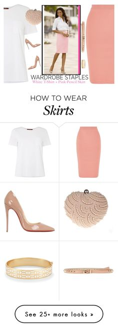 """Wardrobe Staples - White T-Shirt + Pink Pencil Skirt"" by aemun-ahmad on Polyvore featuring MaxMara, Glam Cham, STELLA McCARTNEY, Valentino, Christian Louboutin and Stella & Dot"