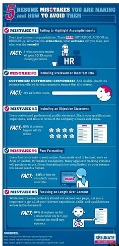 "Ever fill out a resume and think, ""God, this looks so bad and yet I do not know how to fix it?"" Resume tailoring site Resunate, recently put together an infographic about common resume mistakes and how to avoid them. You will never have those feelings again. Check out Resunate's list of resume mistakes below. (via huffingtonpost.com)"