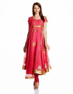Biba By Rohit Bal Women's Cotton Silk Anarkali Salwar Suit
